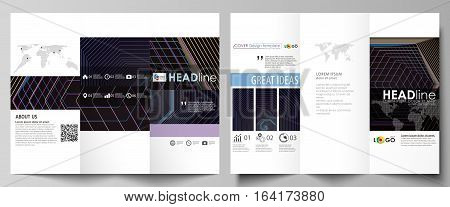 Tri-fold brochure business templates on both sides. Easy editable abstract vector layout in flat design. Abstract polygonal background with hexagons, illusion of depth and perspective. Black color geometric design, hexagonal geometry.