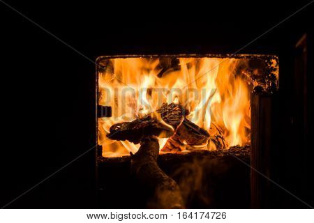 Fire place (Yule log). Beautiful fire burning