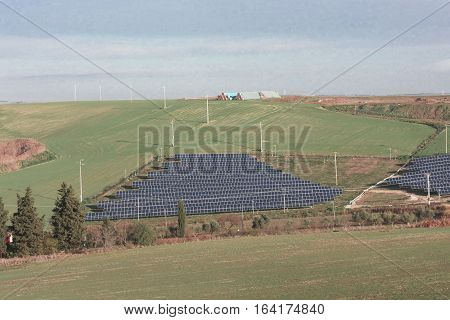 Installation of photovoltaic panels in a valley of Basilicata South Italy. Pollution concept and environmental protection