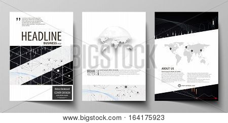 Business templates for brochure, magazine, flyer, booklet or annual report. Cover design template, easy editable vector, abstract flat layout in A4 size. Abstract infographic background in minimalist style made from lines, symbols, charts, diagrams and ot