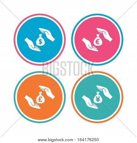Hands insurance icons. Money bag savings insurance symbols. Hands protect cash. Currency in dollars, yen, pounds and euro signs. Colored circle buttons. Vector