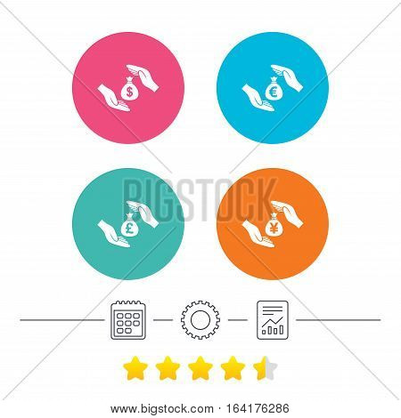 Hands insurance icons. Money bag savings insurance symbols. Hands protect cash. Currency in dollars, yen, pounds and euro signs. Calendar, cogwheel and report linear icons. Star vote ranking. Vector