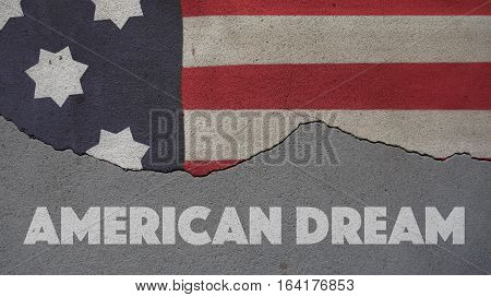 American Dream. Usa Flag and Cracked Wall