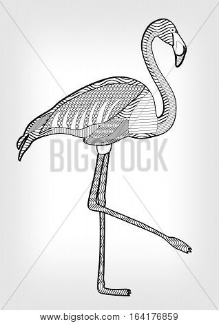 Flamingo in hatched design isolated bird drawing with ornament on body on grey gradient background tattoo template