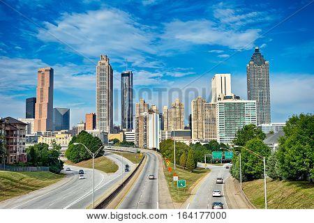 atlanta downtown skyline with the blue sky
