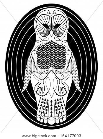 Stylized owl with patterned body surfaces symmetric bird drawing in white and black design on oval shape background useful as tattoo template or club emblem