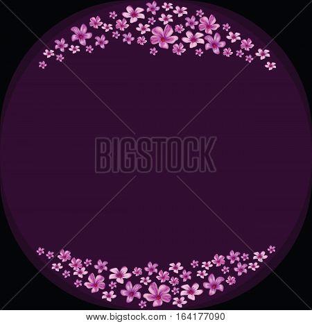 Floral frame with violet flowers on dark violet background.