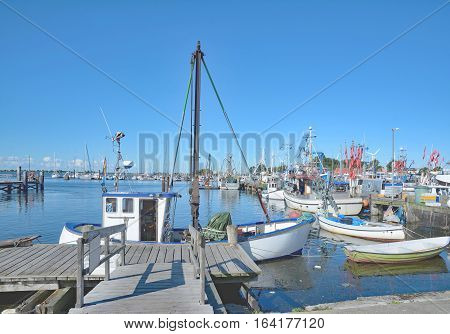 Harbor of Burgstaaken on Fehmarn at baltic Sea,Schleswig-Holstein,Germany