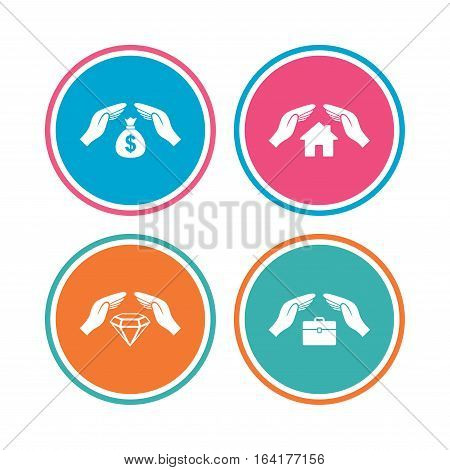 Hands insurance icons. Money bag savings insurance symbols. Jewelry diamond symbol. House property insurance sign. Colored circle buttons. Vector