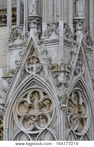 Mantes la Jolie; France - october 18 2016 : portal of the gothic collegiate church
