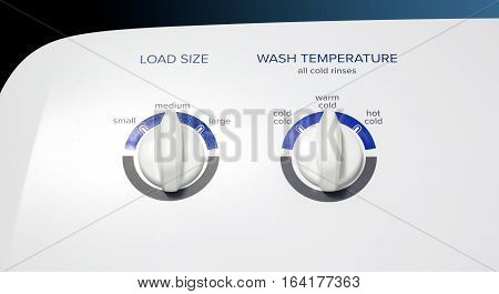 Washing Machine-Load-Temp Knobs - Clothes washer front panel with a focus on the Load Size and Temperature knobs. Straight lighting.