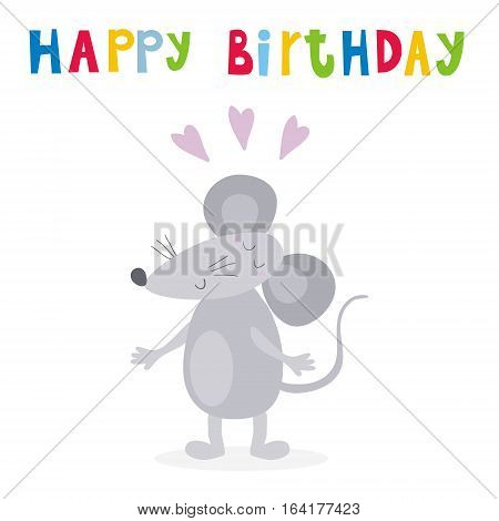 happy birthday card with funny cute mouse cartoon style. vector print.