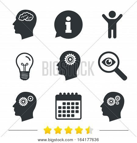 Head with brain icon. Male human think symbols. Cogwheel gears signs. Information, light bulb and calendar icons. Investigate magnifier. Vector
