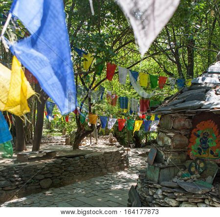 DHARAMSALA, INDIA. 2 Jun 2009: Sacred prayer flags at sacred stupas, Dharamshala. Western Himalayas, Himachal Pradesh, district of Kangra.