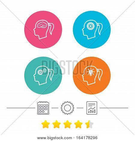 Head with brain and idea lamp bulb icons. Female woman think symbols. Cogwheel gears signs. Calendar, cogwheel and report linear icons. Star vote ranking. Vector