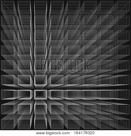 Black color abstract infinity background, 3d structure with white rectangles forming illusion of depth and perspective, vector illustration