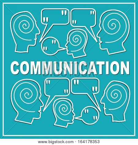 Communication presentation slide template with people heads and speak bubbles with quote. White outline design on trendy green background. Accompanying graphics to soft skills training or workshop