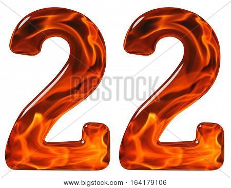 22, Twenty Two, Numeral, Imitation Glass And A Blazing Fire, Isolated On White Background
