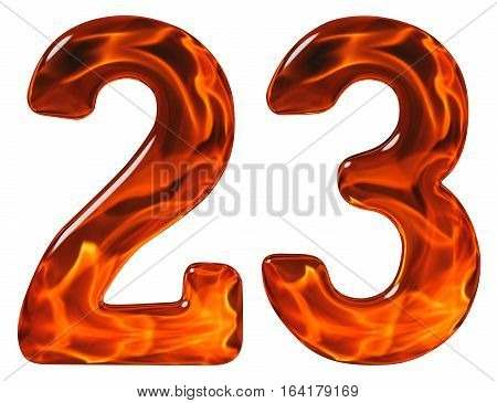 23, Twenty Three, Numeral, Imitation Glass And A Blazing Fire, Isolated On White Background