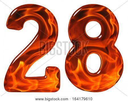 28, Twenty Eight, Numeral, Imitation Glass And A Blazing Fire, Isolated On White Background