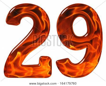 29, Twenty Nine, Numeral, Imitation Glass And A Blazing Fire, Isolated On White Background