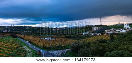 Winter morning countryside view in Crete, Heraklion, Greece
