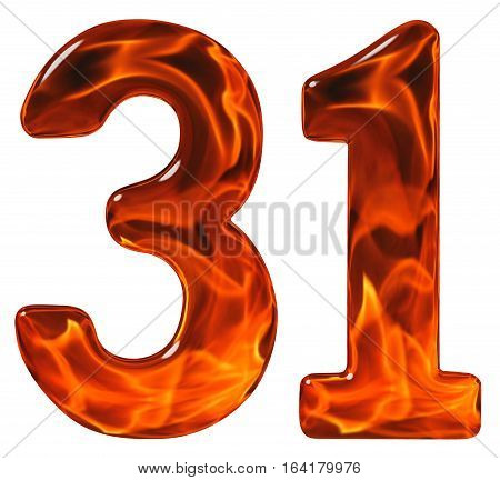 31, Thirty One, Numeral, Imitation Glass And A Blazing Fire, Isolated On White Background