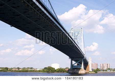 underside of Ben Franklin Bridge in Philadelphia Pennsylvania
