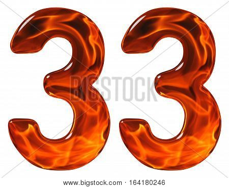 33, Thirty Three, Numeral, Imitation Glass And A Blazing Fire, Isolated On White Background
