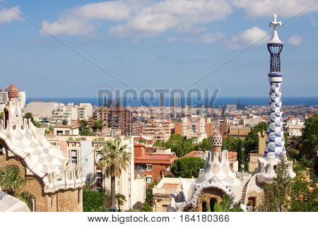 Barcelona ,Spain - June 27, 2016: buildings in Park Guell in Barcelona built by Antoni Gaudi between 1900 and 1914