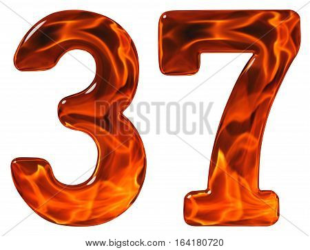 37 thirty seven numeral imitation glass and a blazing fire isolated on white background poster