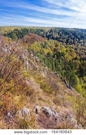 Autumn landscape. View from the rocks on the river Berd. Siberia Novosibirsk oblast near the village Novososedovo Russia