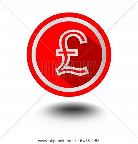 Pound symbol of English currency in red circle shape in modern flat design with long shadow