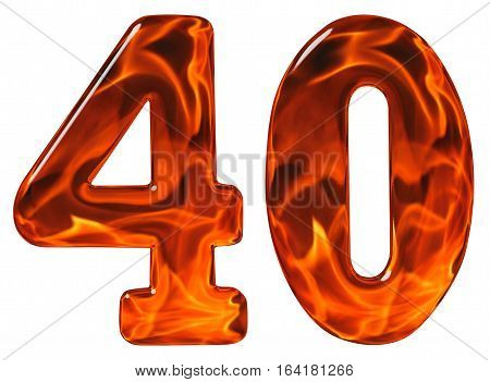 40, Forty, Numeral, Imitation Glass And A Blazing Fire, Isolated On White Background