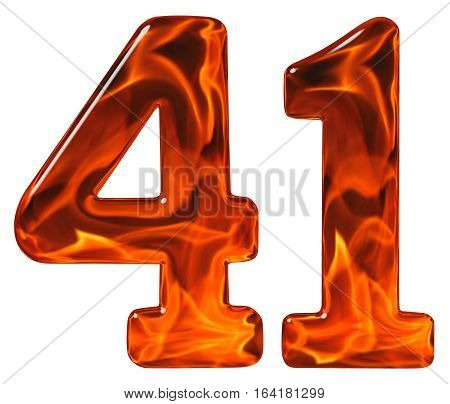41, Forty One, Numeral, Imitation Glass And A Blazing Fire, Isolated On White Background