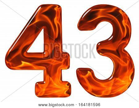 43, Forty Three, Numeral, Imitation Glass And A Blazing Fire, Isolated On White Background