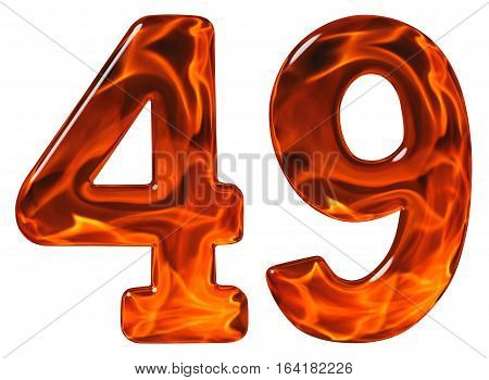 49, Forty Nine, Numeral, Imitation Glass And A Blazing Fire, Isolated On White Background