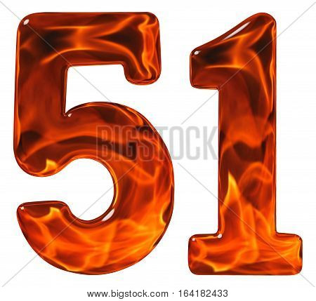 51, Fifty One, Numeral, Imitation Glass And A Blazing Fire, Isolated On White Background