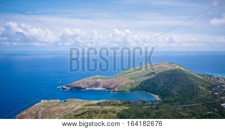Aerial view of Hanauma Bay from Koko Head peak