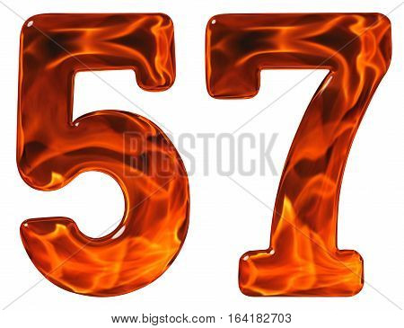 57, Fifty Seven, Numeral, Imitation Glass And A Blazing Fire, Isolated On White Background