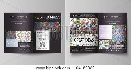 Business templates for bi fold brochure, magazine, flyer, booklet or annual report. Cover design template, easy editable vector, abstract flat layout in A4 size. Bright color background in minimalist style made from colorful circles.