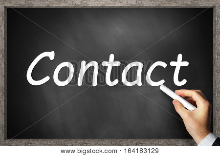 hand writing contact standing on black chalkboard 3D Illustration