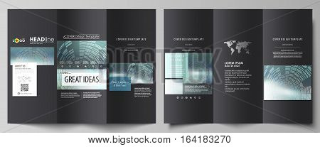 Tri-fold brochure business templates on both sides. Easy editable abstract vector layout in flat design. Technology background in geometric style made from circles