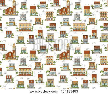 Flat Style Vector Color Urban Scene Seamless Pattern
