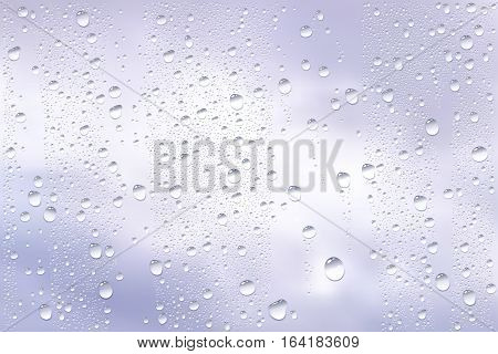 Vector Photo Realistic Image Of Raindrops Trough Window Glass At Dull Sky View