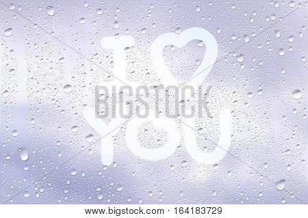 Realistic Vector Background Of Raindrops On The Window With Hand Drawn By Finger Heart Shape And Sign I Love You