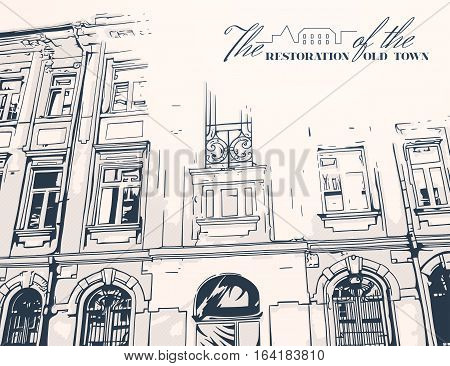 Fragment of facade of old building. Monochrome vector illustration.