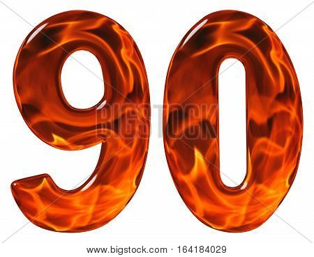 90, Ninety, Numeral, Imitation Glass And A Blazing Fire, Isolated On White Background