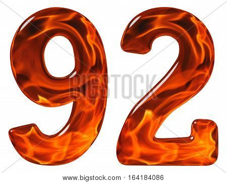 92, Ninety Two, Numeral, Imitation Glass And A Blazing Fire, Isolated On White Background