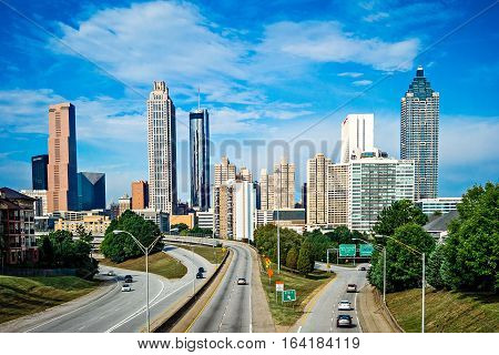 atlanta downtown city skyline with blue sky